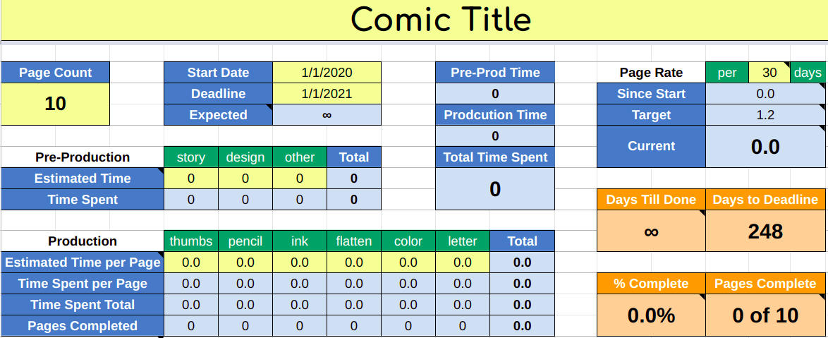 Comics Time Sheet